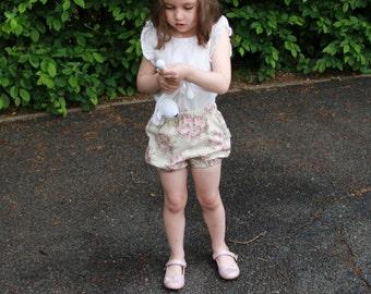Vintage inspired summer girls shorts toddler bubble shorts girls bubble shorts toddler bloomers girls bloomers UK seller / Ready to ship