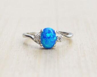 Blue Opal Ring, Dark Blue Opal Ring, Silver Blue Opal Ring, Opal Engagement Ring, Promise Ring, Sapphire Opal Ring, October Birthstone