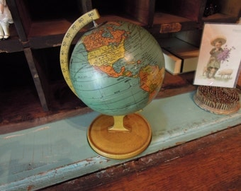 Antique Tin Globe / 1920's J. Chein Small Globe / Litho Tin Globe / Mini World Globe / Vintage Toys
