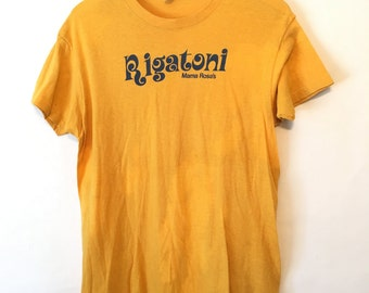Vintage 90s Rigatoni Yellow T Shirt Size Large