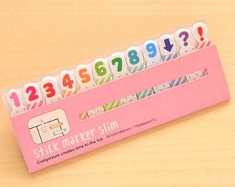 Numbers Sticky Notes - Cute Kawaii Post-It / Cute Stationery / Kawaii Stationary / School Supplies / Memo Pad / Stick Marker Slim / Tabs