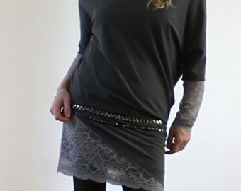 asymmetric and irregular gray dress with lace inserts and kimono sleeves