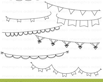 Doodle Pennant Banners / Digital Image / Digital Clip Art for Scrapbooking, Invitations, and more
