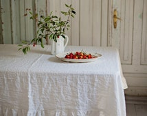Stone washed linen tablecloth. 6 colours. White, grey, natural, blue, pink, woodrose. Linen tablecloth with ruffles. Custom linens.