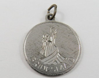 Bridesmaid Sterling Silver Pendant or Charm.