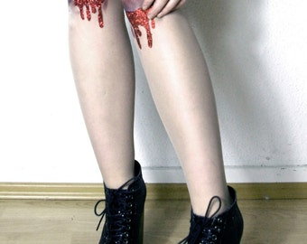 Made to Order: OUCH! Bloody Glitter Bruises Tights // pastell goth grunde stockings cross