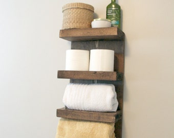 Bathroom Towel Rack, 4 Tier Bath Storage, Everyday Towel Rack, Floating Shelf,  Hotel Style, Rustic bathroom towel rack