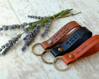 Corporate Christmas Gift Latitude Longitude Leather Keychain - GPS Coordinates Location Key ring - Mens Keychain - Anniversary Gift for Him