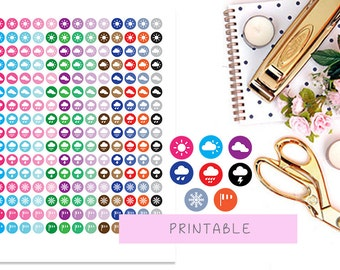 Weather Printable Planner Stickers, Weather Icons Stickers, Icon Planner Stickers for Erin Condren Planner, Kikki K Stickers, Happy Planner