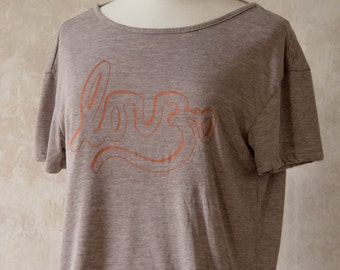 Yoga Shirt - Love Om with Open Back in Brown