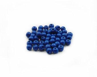 4mm Glass Beads, Blue Glass Beads, Blue Beads, Round Beads, 40 pcs Glass Beads, Jewelry Making, Graft Supplies