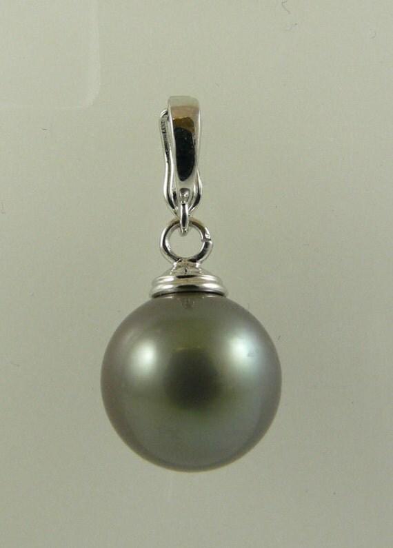 Tahitian Dark Gray 13MM Pearl Pendant 14k White Gold