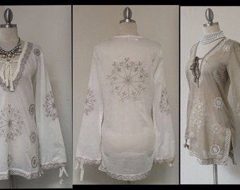 Must Have Summer Cool Cotton Embroidery Designer Tunic Top, Boho, Travel, Cruise, Beach