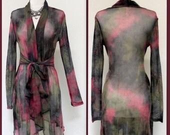 New Designer Asymmetric Hem Long Sleeve net jacket, beach wear, cover up.