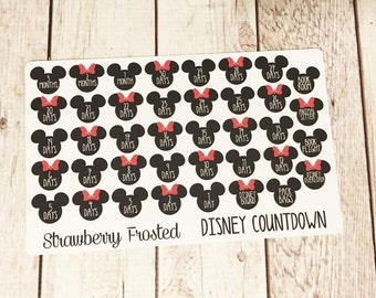 Disney Trip Countdown Planner Stickers- /Personal Size Planner