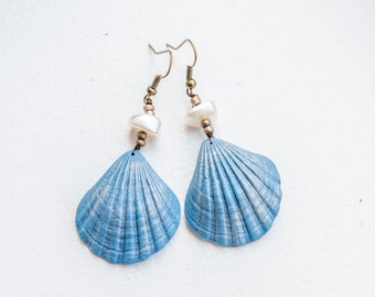 Nautical Earrings Shell earrings Beach earrings Seashell Earrings Nautical Jewelry Beachy Jewelry Beach Wedding Jewelry Mermaid Earrings
