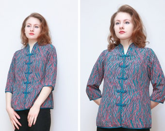 Vintage Y'S FASHION II Cheongsam Style Blouse/ 3/4 Length Sleeves/ Frog Button Closure/Side Slits