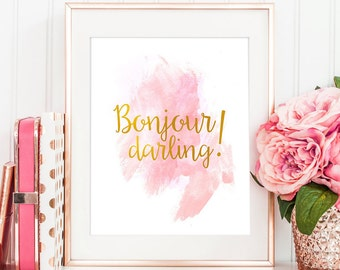 Bonjour Darling Printable Art | Gold Digital Art | Watercolour Art | Typography Gold Print | Watercolor Pastel | Wall Decor | Office Decor
