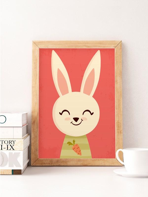 Rabbit Wall Art Animals Wall Decor Cute Wall Decor Nursery