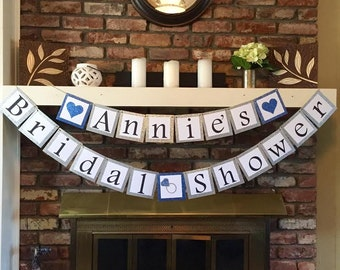 Custom Bridal Shower Banner with Glitter Border, Multiple Color Options Available