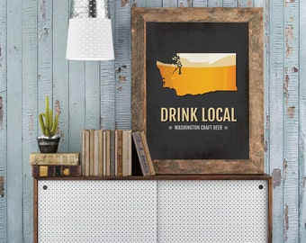 Washington Beer Print Map - WA Drink Local Craft Beer Sign - Boyfriend Gift, Husband Gifts, Beer Gift, Beer Art, Seattle,Spokane Poster