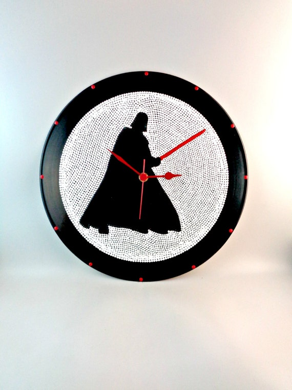 Star Wars Darth Vader Wall Clock Vinyl Clock Upcycled