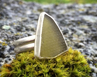 Sea Glass Ring, Size 9, Green, Sterling Silver