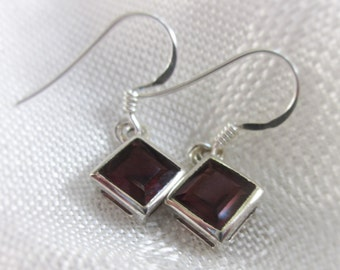 Gorgeous Garnet Drop Silver Earrings