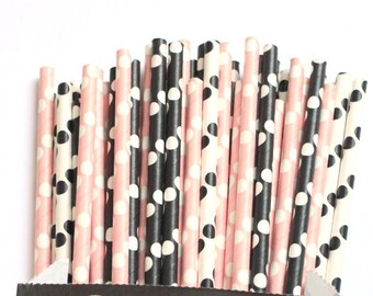 Black and light pink polka dot paper straws-set of 25, minnie mouse party, minnie straws, pink and black straws