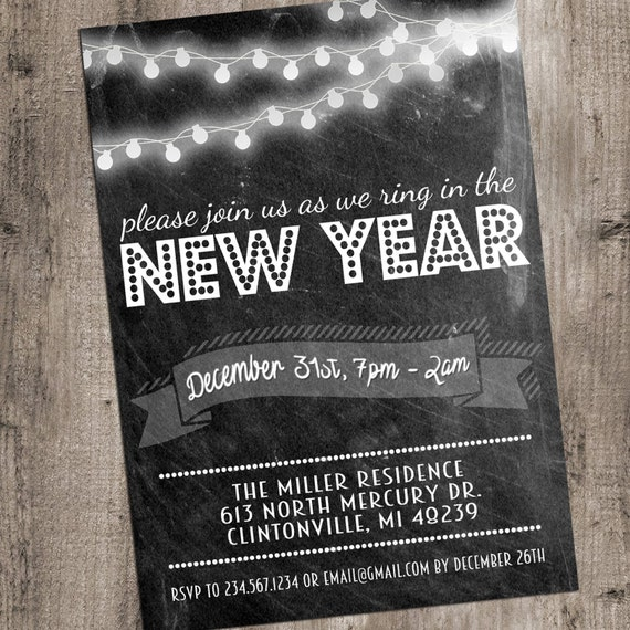 New Years Eve Invitation Printable Chalkboard String Lights 5x7 DIY Template Editable Instant Digital Download