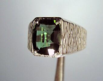 Men's Ring ** Green Quartz & Sterling Ring