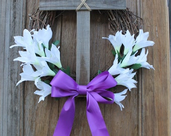 Easter Wreath, Cross Wreath, Easter Decor, Easter Lilly Wreath, Christian Wreath, Spring Wreath, Easter Cross Wreath