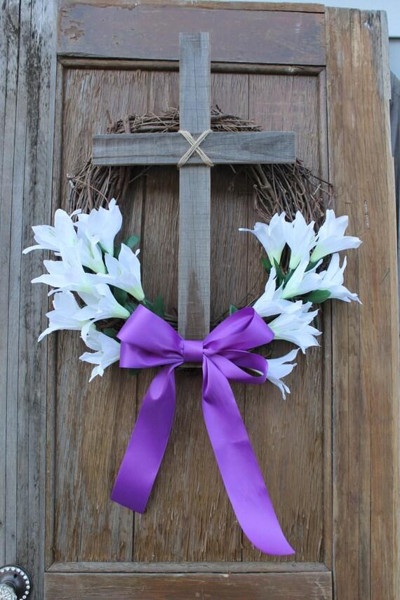 Easter wreath cross decor lilly