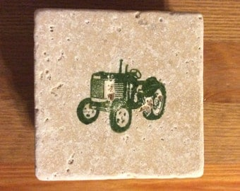 Green Tractor Tile Coaster Set of Four