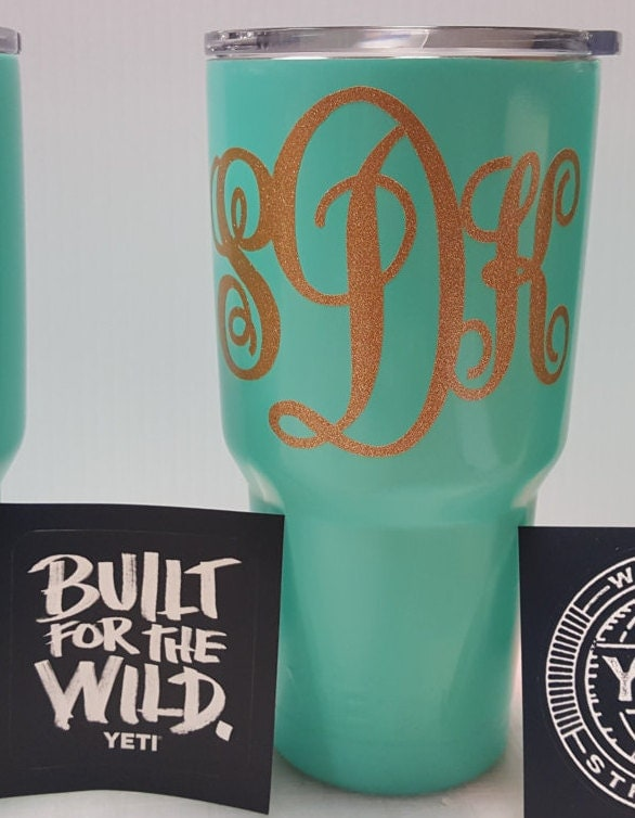 personalized with monogram 30oz  yeti rambler tumbler wrapped