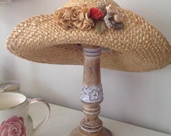 Women's hat, vintage hat, ladies hat, wedding, vintage straw summer hat, 1980's, dried flowers, ribbon, flower, made in England, 80's