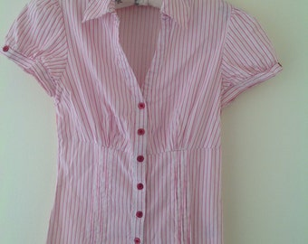 Womens blouse, vintage shirt, pink  striped blouse, short sleeved shirt, ladies top, women's shirt, 90's clothing, cotton top, summer blouse