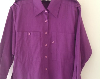 Vintage shirt, purple shirt, 80's vintage cotton shirt, women's blouse, ,work shirt, ladies shirt, purple blouse, work top