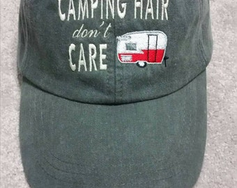 Vintage Camper Camping Hair Don't Care Baseball Hat