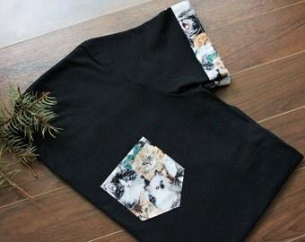 Cats Men T-Shirt Pocket & Sleeves