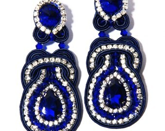 Soutache Earrings Sapphire Crystals
