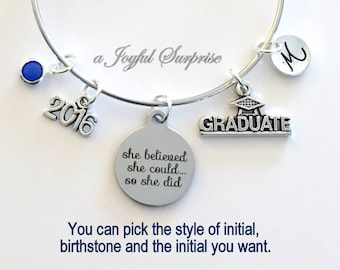 Graduation Bracelet, Graduation Gift, Student Grad 2016 Silver Bangle, She believed she could so she did, University Jewelry, College Charm