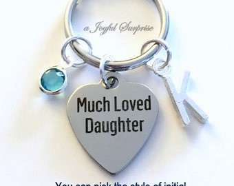 Much Loved Daughter Keychain, Daughter Key Chain Gift for Daughter Gift Birthday present, Step Daughter Keyring Christmas Birthstone Initial