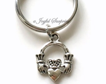 Silver Claddagh Key Chain Claddagh Circle Keyring Symbol Charm Keychain birthday present Christmas Gift planner charm purse charm for man