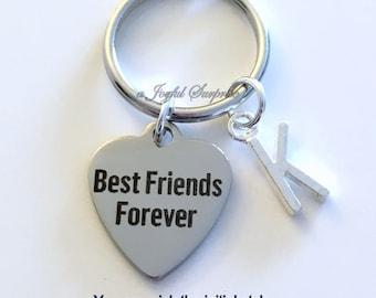 Best Friends Forever Key Chain, BFF KeyChain Gift for Guy Best Friend, Best Man Keyring, Birthday Present Initial monogram custom letter