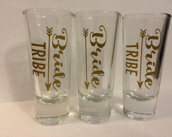 Bride Tribe shot glasses personalized Bachelorette party, weddings, bridal party gifts