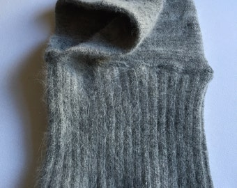 Grey Baby Wool Hood Hat