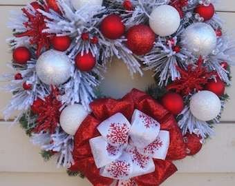 Christmas wreath, Holiday wreath, Red and White wreath, Snowflake wreath, Flocked wreath