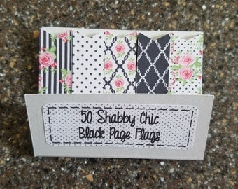 50 Shabby Chic Black Full Adhesive Page Flags Planner Stickers Erin Condren Happy Planner Kikki K