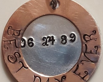 Hand Stamped Sterling silver & Copper BEST DAY EVER pendant